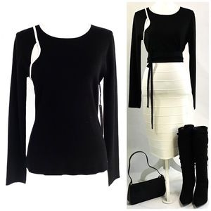Nicole Miller Black with White Trim Knit Top